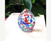 SALE Vintage Murano Paperweight, Ribbon Egg, Latticino Scramble, Blues, Reds, Inside Clear Egg, Italian Glass, Excellent Condition