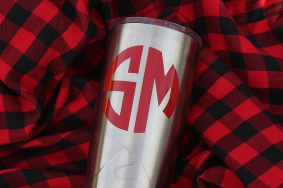 1 monogram decal two letter monogram decal cup decal for Letter decals for cups