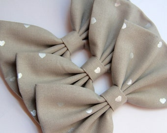 SALE - Marisa Hair Bow - Light Gray & Silver Metallic Hearts Hair Bow with Clip