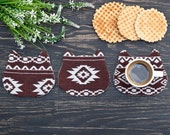 Brown coasters, Tribal cat, Drink coaster, Kitchen Decor, barware, set of 4