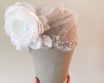 Lace Bridal Cap with silk millinery flower and beaded details - Vintage style wedding headpiece