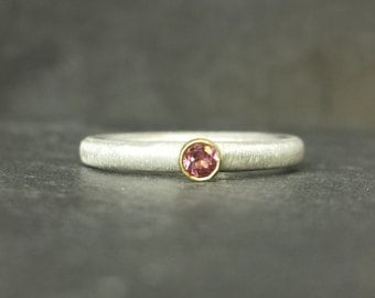Blush - 9ct 9k gold bezel set tourmaline ring alternative engagement ring, silver skinny band UK