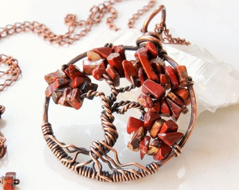 Tree of Life Necklace, Red Jasper tree pendant, Copper Wire Wrapped tree of life, red gemstone talisman necklace, holiday gift for her