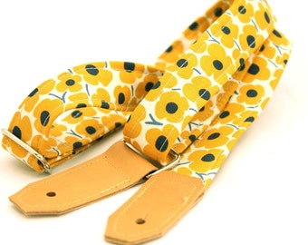 Ukulele Strap - Yellow Daisy Print - Leather Ends and Optional Tie Lace