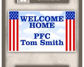 Banner (VINYL) - Welcome Home - Military - 48 in x 30 in - Custom