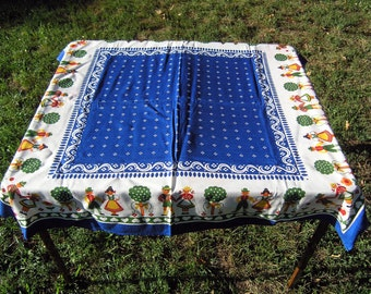 Vintage Square Tablecloth, Retro Blue and White Cotton Tablecloth, Hearts, People, Trees, Czech Republic Vintage Table Linens