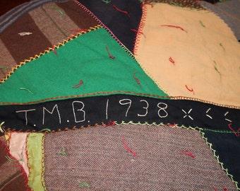 Handmade Antique Crazy Quilt Signed 1938 Measures 61 X 70