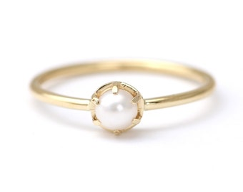 Gold Pearl Ring - White Pearl Ring - Pearl Engagement Ring - 18k Gold Ring