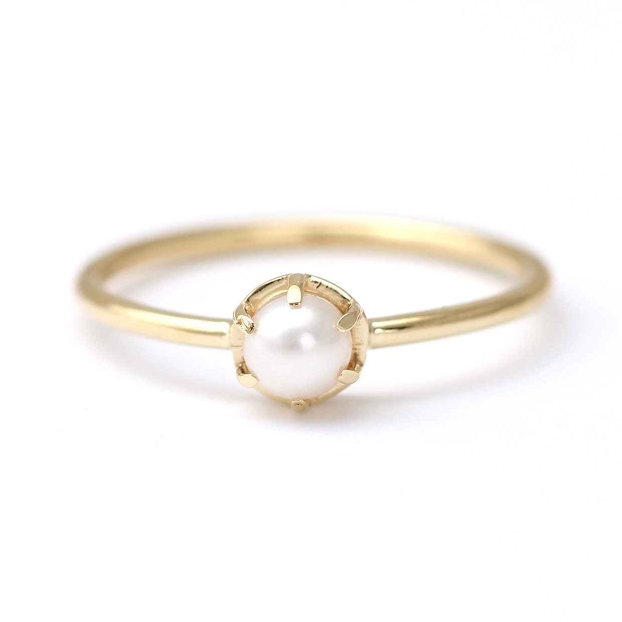 gold pearl ring white pearl ring pearl engagement ring