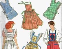 Simplicity 9807 Misses Set Of Aprons Sewing Pattern, UNCUT