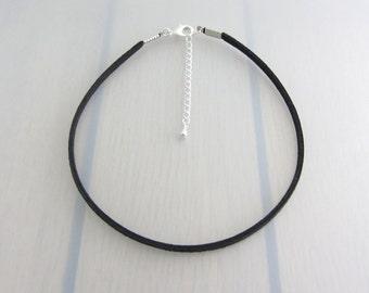 Black Faux Suede Choker, 3mm Width Choker Necklace, Black Plain Choker Necklace, Adjustable Choker