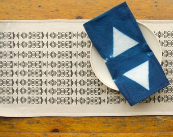 New! Broken Lines Hand Printed Table Runner in Charcoal Grey- Geometric Modern Table Runner
