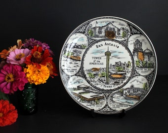 Vintage San Antonio Texas Souvenir Plate Featuring Historical Sites
