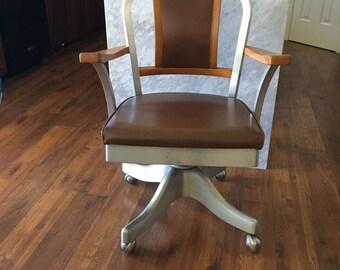 Vintage Chair Shaw Walker Aluminum Wooden Propeller Industrial Chair MidCentury Eames Era Office Desk Chair Adjustable Comfort Seating