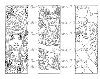 IMG052 Fairy Bookmarks 3 to color your own way fantasy art digital stamp instant download digi stamp coloring page