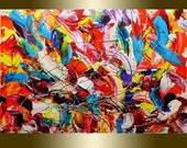 Acrylic Painting on Canvas palette knife Contemporary colors