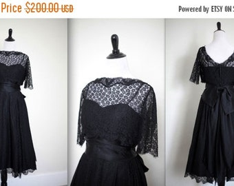 LOVERS DAY SALE Vintage 1940's 40s 1950's 50's Black Satin Lace Taffeta Party Dress Full Skirt Medium