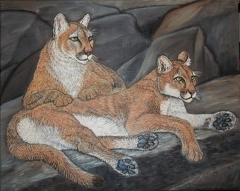 "original oil painting-  Mountain Lions,Cougars,Pumas, Panthers-  size 16""x 20"""