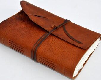 "Handmade Leather Journal 10 1/2"" x 7 1/2"" - 140 lb watercolor paper - Sketchbook"