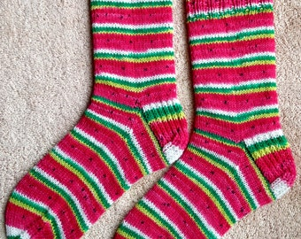 Hand Knit WATERMELON Wool Socks (S-204)