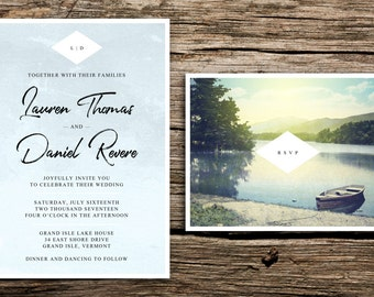 Tranquil Lake Wedding Invitation and RSVP // Modern Wedding Invitations Monogram Lake Wedding Invites Lakeside Vermont Mountains Blue