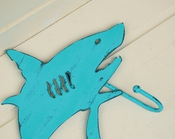 Metal Shark Hanger for Nautical Decor Beach House Decor Turquoise Blue-Green Fish Hanger