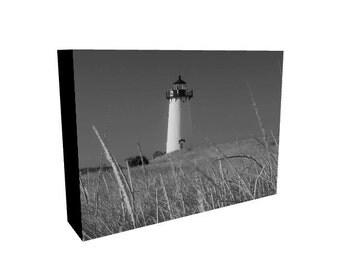 "Edgartown Lighthouse Black and White 5"" x 7"" Photo Canvas Print, Wall Art, Home Decor, Wall Decor, Martha's Vineyard Photography, Art Gift"