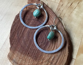 Silver and Turquoise Hammered Hoop Earrings