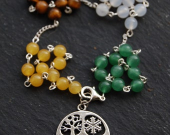 Wheel of the Year or Four Seasons/Festivals Witches'/Witch's Ladder/Druid's Ladder/Prayer Beads/Necklace. Pagan Druid Wicca Solstice Equinox