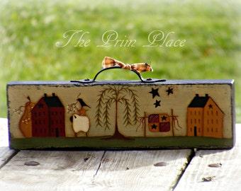 Primitive Hand Painted Folk Art Table Sitter Block ~ Primitive Home Decor ~ Primitive Decor ~ Saltbox House ~ Primitive Sheep ~ Home Decor