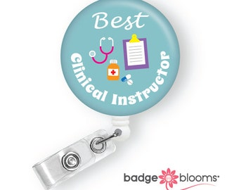 Clinical Instructor Gift - Retractable ID Badge Clip - Cute Name Badge Holder - Work ID Badge Pull - Nurse Graduation Gift - BadgeBloom