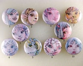 50 Shades of Fae Art Buttons -- #1 thru #10 / Magnetic Pendant Jewelry