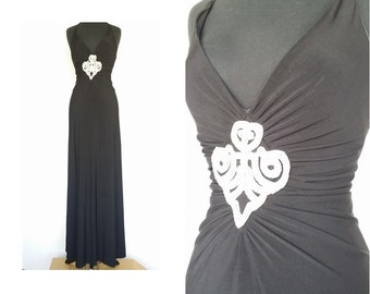 Sexy Plunging Formal Long Black Gown / Vintage JESSICA McCLINTOCK Ruched Rhinstone Backless Halter Stretchy Maxi Dress / Size S Made in USA