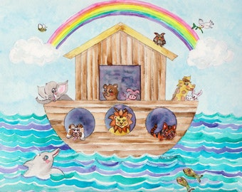 Noah's Ark Watercolor Print, Inspirational Kid's Art, Bible Story Picture for Baby Nursery, Animals, Rainbow, Lion, Dog, Giraffe, Elephant