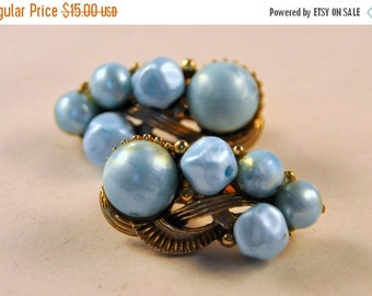 ON SALE Vintage Ear Climber Moon Glow Blue Pearls and Gold Earrings - Unusual