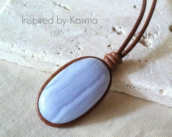 Blue Lace Agate and Leather Boho Necklace, Boho Jewelry, Leather jewelry, Gifts under 50, Blue, Gemstone, Bohemian Jewelry