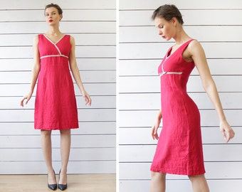 French vintage red linen sleeveless slim fitted knee length shift midi dress XS