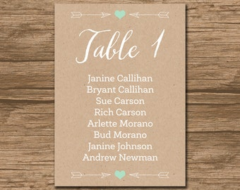 Wedding Seating Chart, Seating Plan, Rustic Seating Chart, Seating Lists - PRINTABLE files - rustic, garden wedding - Emily