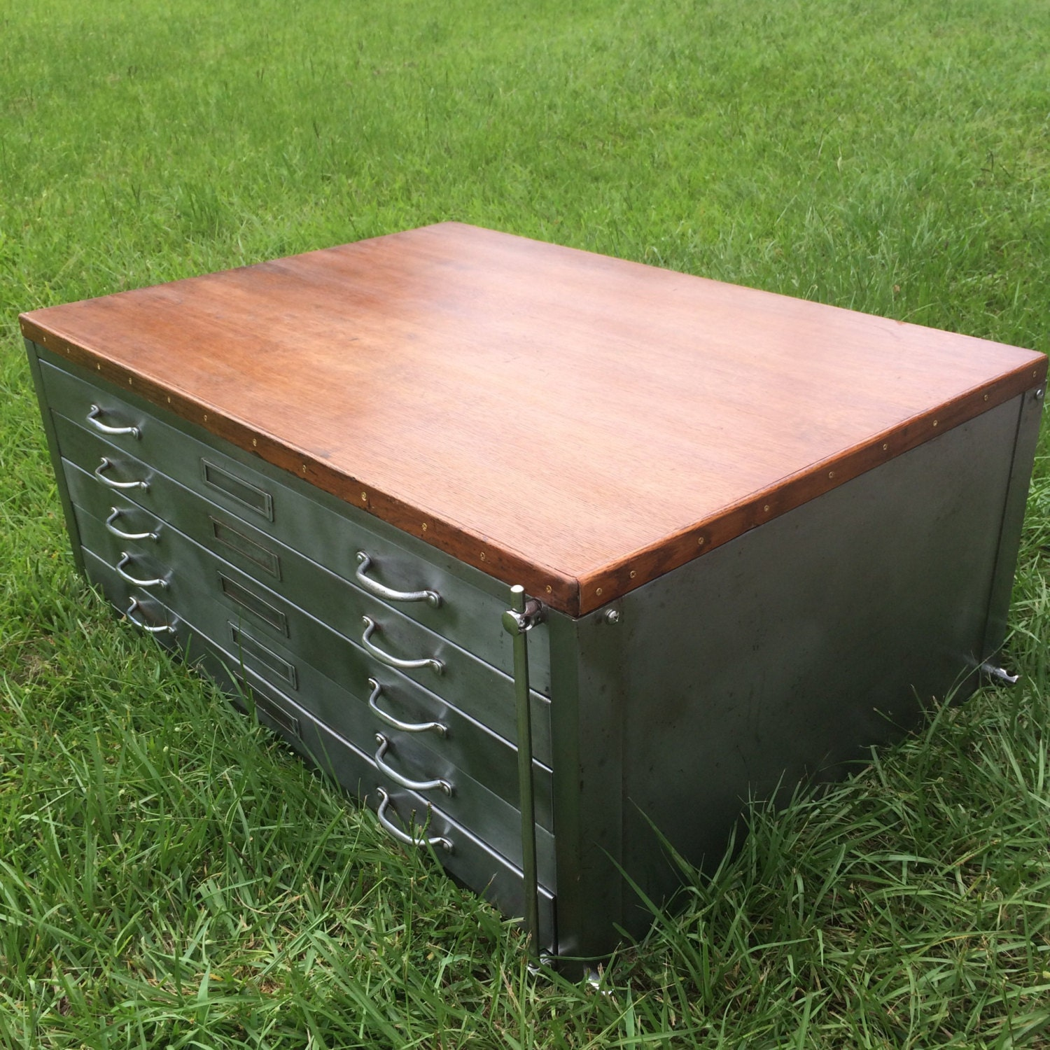 Free Shipping Vintage Flat File Cabinet Coffee Table On