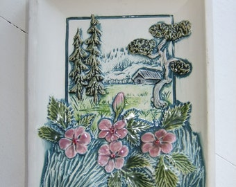 Vintage Swedish ceramic wall plaque - House in the forest - Jie Gantofta - Aimo design
