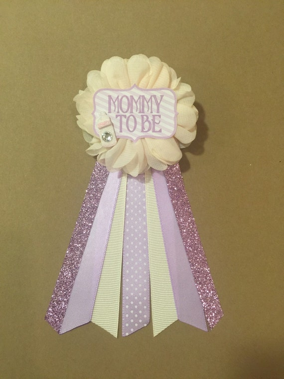 baby shower pin mommy to be pin flower ribbon pin corsage glitter mom