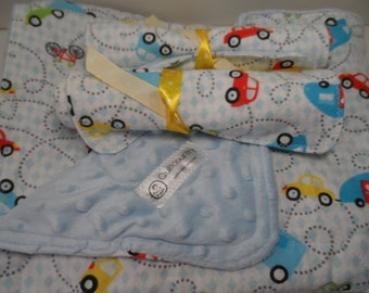 Baby boy Shower gift: blanket set with a flannel minky quilt and 2 burp cloths