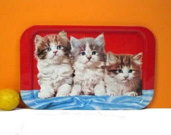 Fluffy kittens tray, red, blue and cute, vintage servingware made in England