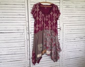 Upcycled Tunic XL, Berry and Taupe, Upcycled Clothing, Tunic or Dress, Short Sleeves
