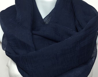 Navy Blue cowl neck infinity scarf