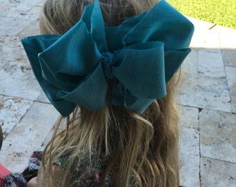 "Big girl 6-7"" fabric hair bows clips headbands"