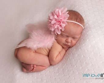 SOFT PINK NEWBORN Feather Wings, Newborn Wings with Headband, Newborn Photo Prop, Newborn baby wings, angel wings, baby wings, Pink wings