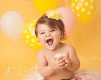 SKINNY YELLOW PETAL Flower Headband, Newborn Headband, Yellow Headbands, Newborn Baby, Headbands, Infant Headbands, Headbands for Babies