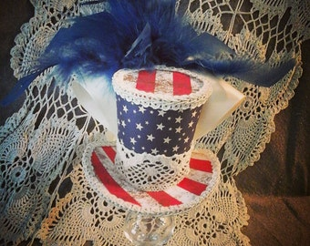 American  flag  stars and stripes fourth of July mini top hat fascinater costume Alice in wonderland