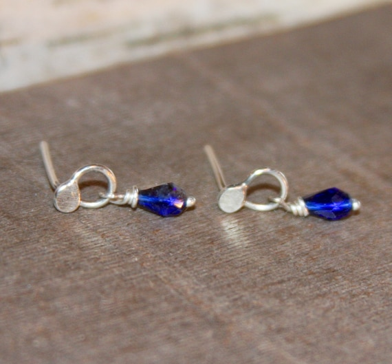 Small Blue Earrings: Small Blue Sterling Silver Earrings Tiny Blue Stud Earrings